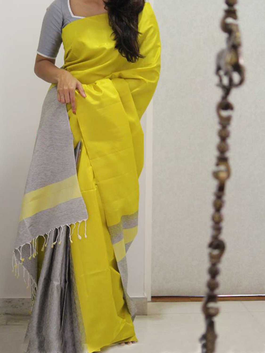 MODERN YELLOW COLOR SOFT SILK DESIGNER SAREES - SC960