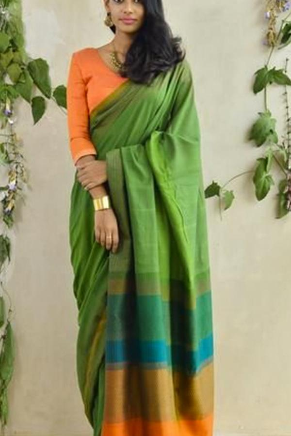 SOOTHING AND STUNNING MULTICOLOUR SOFT SILK SAREE - SC374