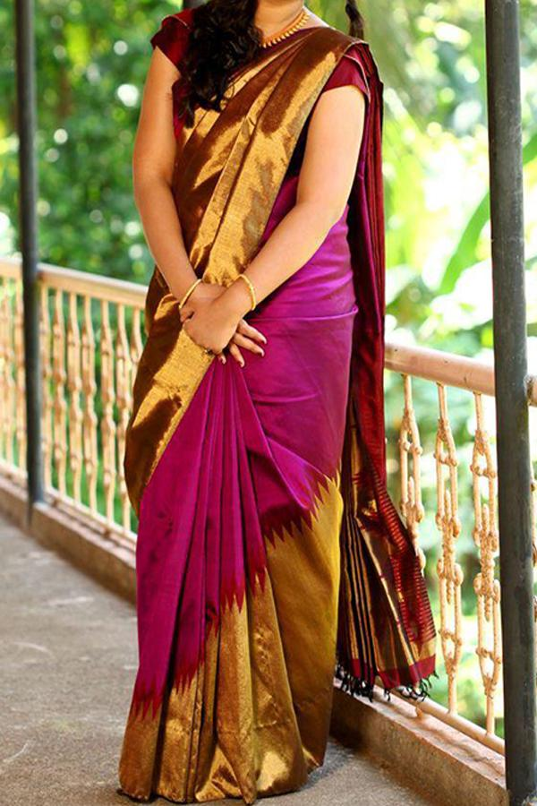 GOLD PINK UPCOMING SILK SAREE WITH BLOUSE FOR WOMEN - SC407