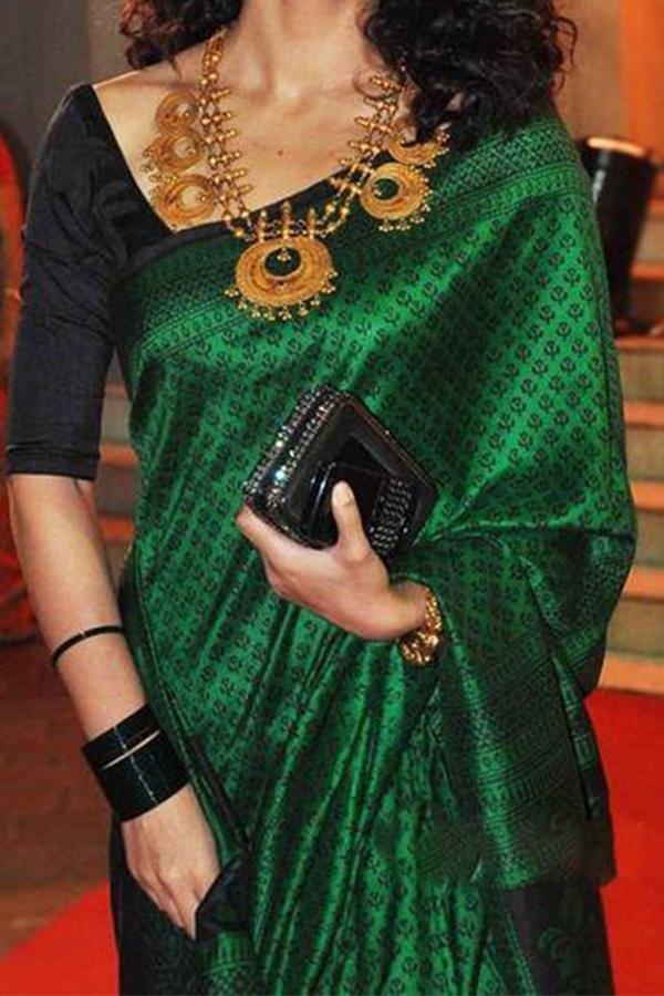 GREEN-BLACK UPCOMING SILK SAREE WITH BLOUSE FOR WOMEN - SC417