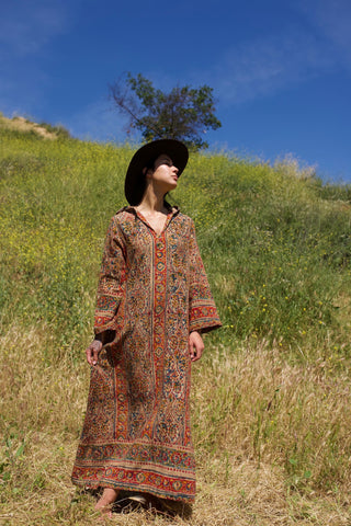 """Earth Mama"" 1970s Hooded Indian Block Print Dress"