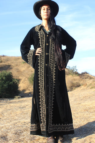 """Gothic Ranch"" Early Century Silk Velvet Duster Robe"