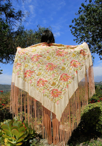 Exquisite Hand Embroidered Gypsy Piano Shawl