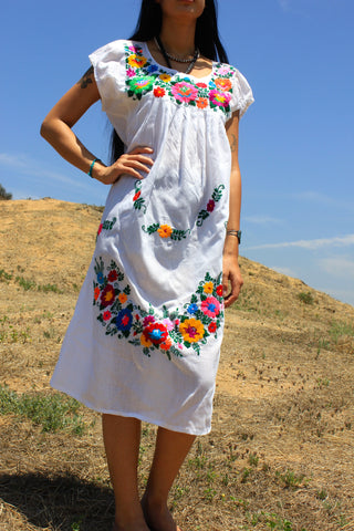 """Flower Garland"" Hand Embroidered Mexican Cotton dress"