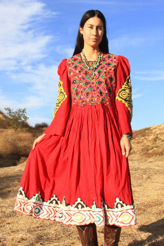 1970s Hand Embroidered Pashtun Afghani Dress with Kuchi Mirrored