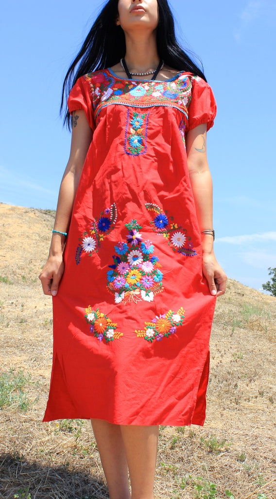 """Scarlet Senorita"" Vintage Hand Embroidered Mexican Dress"