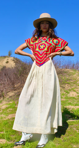 1970s One of A Kind Hand Embroidered San Mateo Huipil Dress