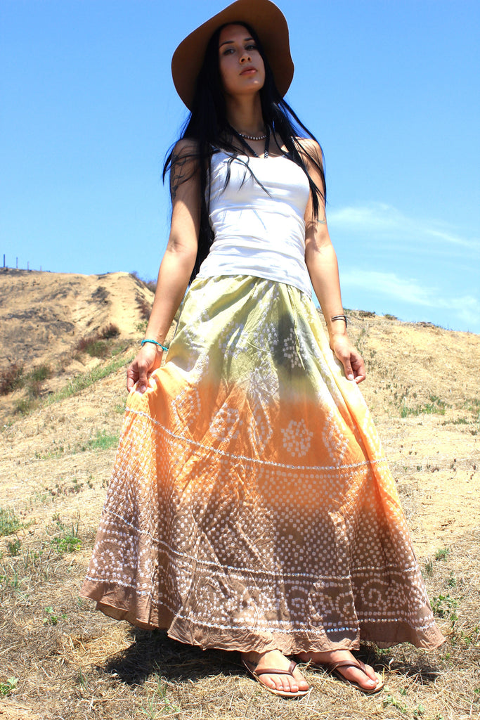 Shibori Vintage Indian Maxi Skirt