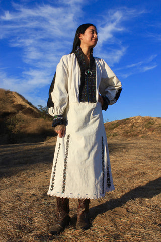 "1920s ""Romanian Folk"" Antique Handmade and Hand Embroidered Peasant Dress"