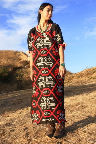 Hand Embroidered Huichol Sacred Deer Vintage Dress