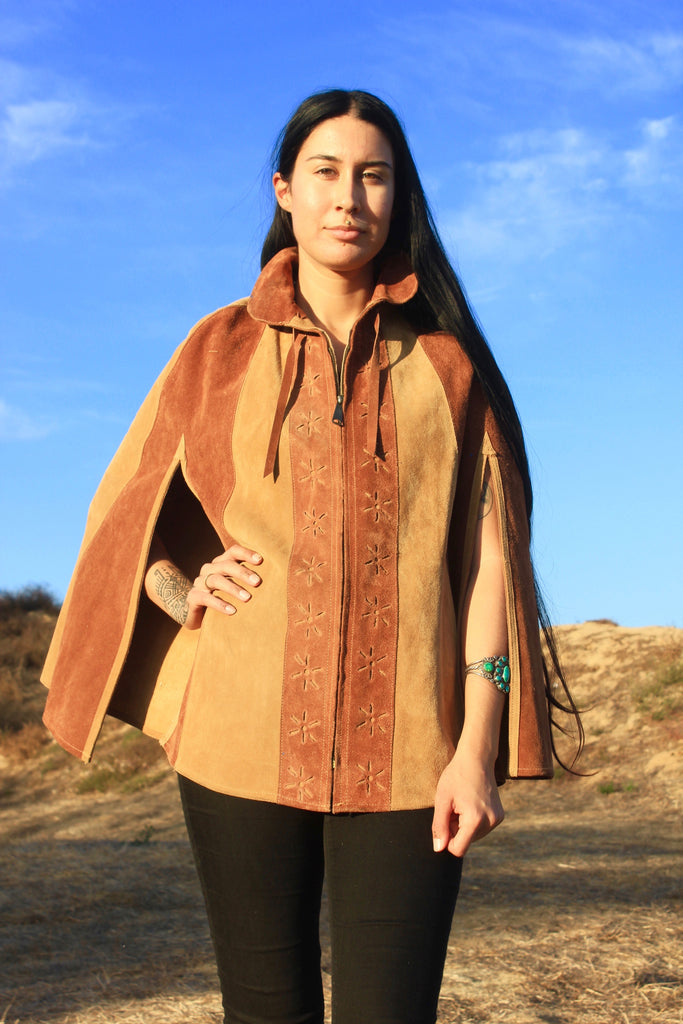 1970s Handmade Suede Poncho