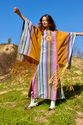 """Cosmic Folk"" at it's Finest Josefa 1970s Mexican Cult Designer Handmade Maxi Dress"