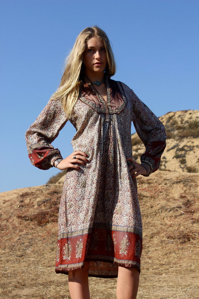 """Going to California"" 1970s Vintage Indian Gauze Dress"