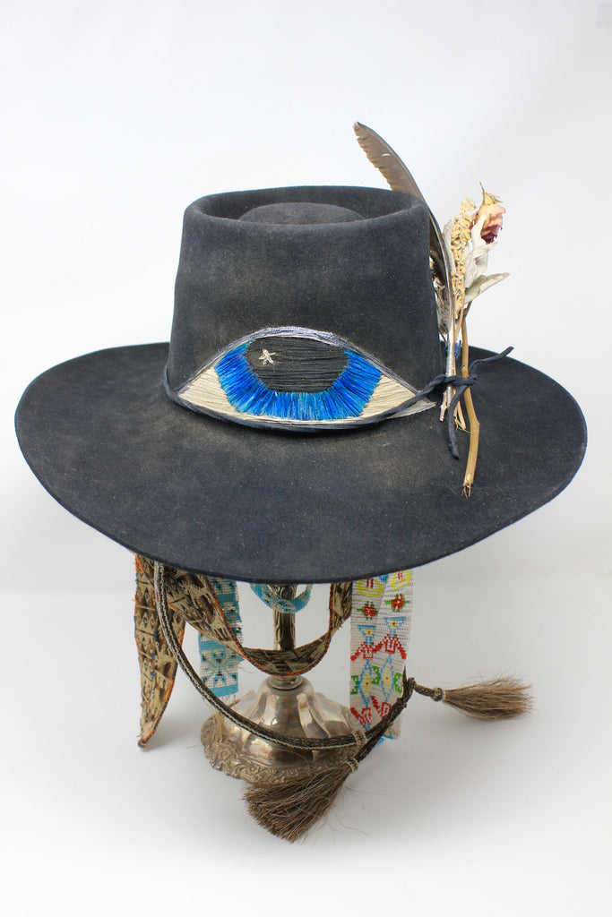 """All Seeing Eye"" Honeywood ORIGINAL DESIGN Hand Embroidered Lone Hawk Hat"