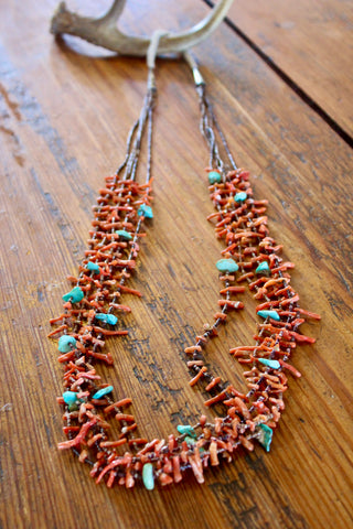 Old Pawn Navajo Made Five Strand Coral and Turquoise Necklace