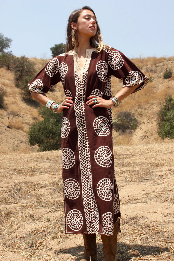 Classic Mid - Century African Cotton Maxi Tunic