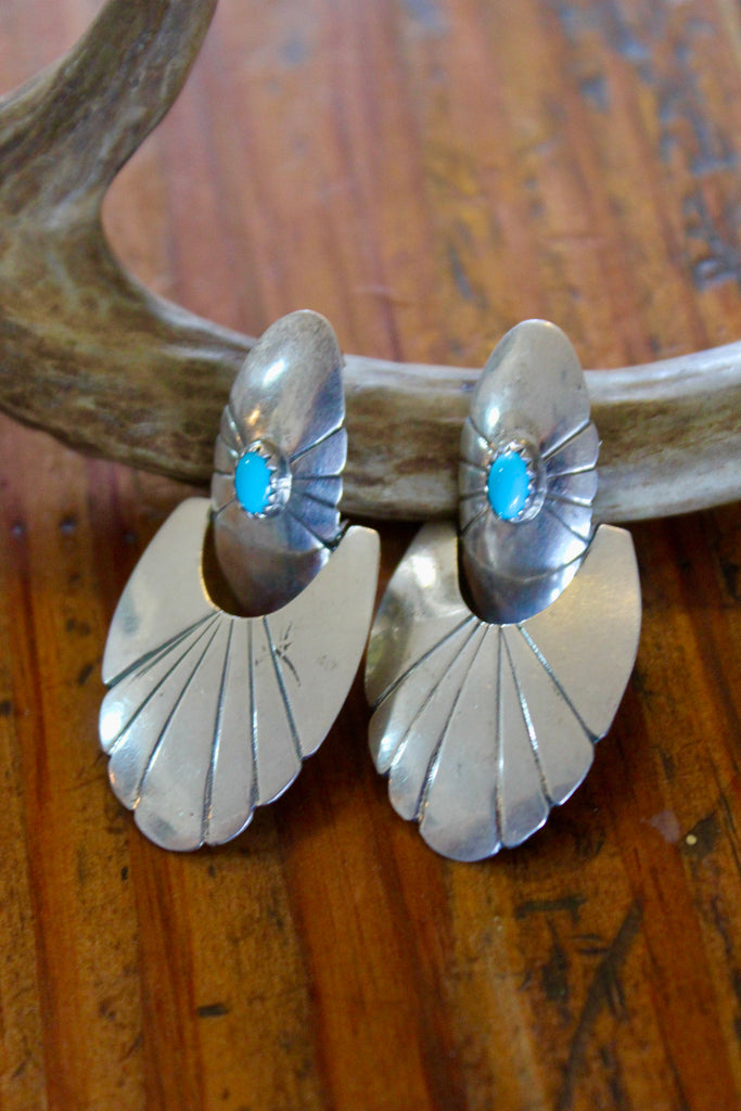 Vintage Handmade Navajo Made Sterling Earrings