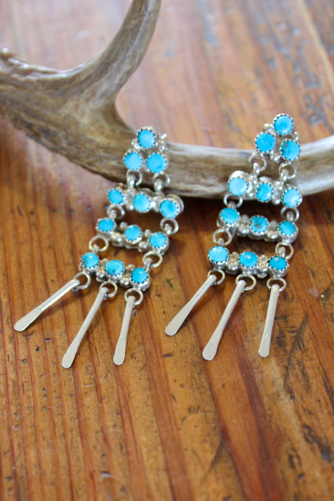 Signed Zuni Snake Eye Sterling and Turquoise Chandelier Earrings