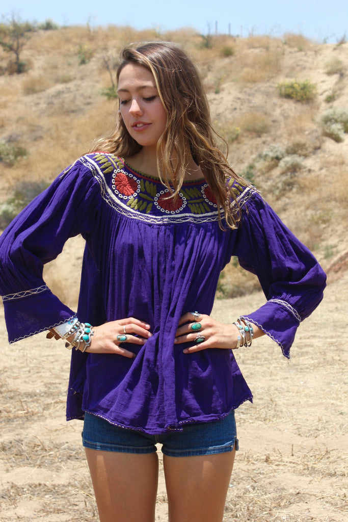 Vintage Mexican Hand Embroidered Blouse