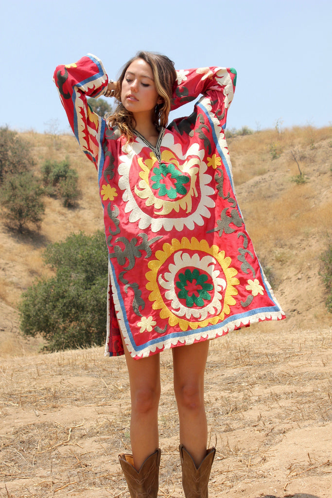 """Summer Solstice"" Hand Embroidered Suzani Tunic"