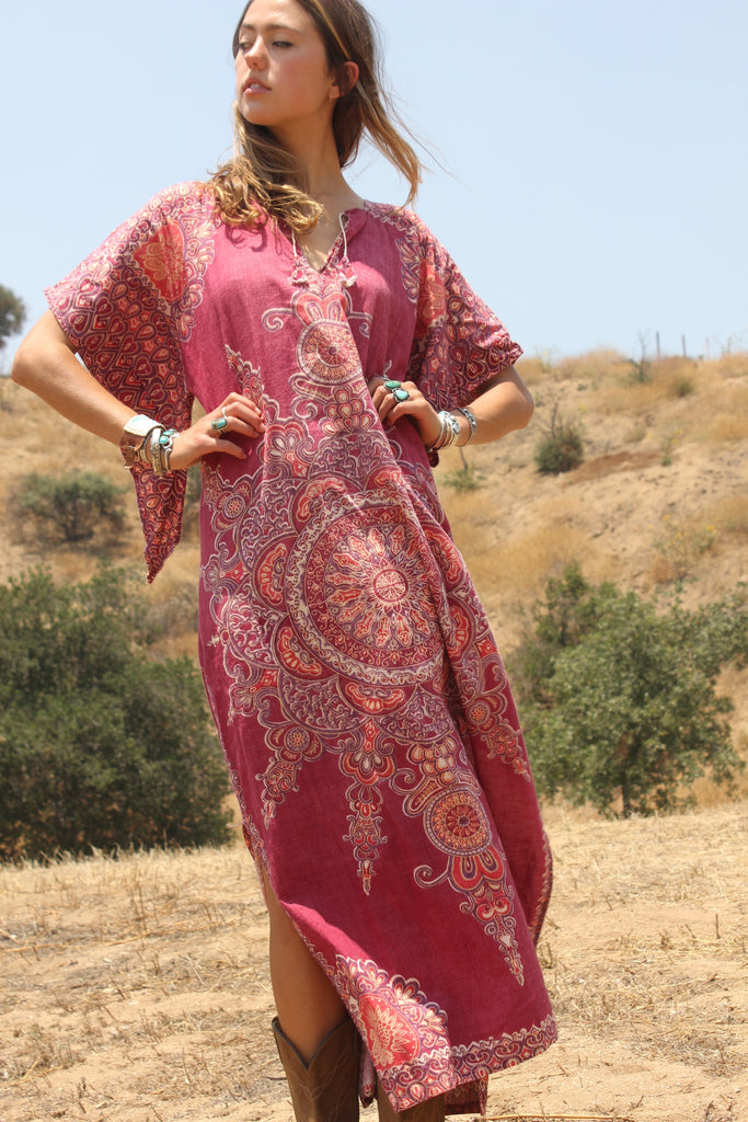 """Cosmic Mandala"" 1970s Pakistan Maxi Dress"