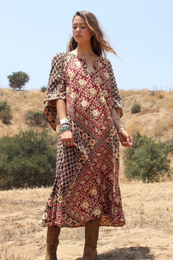 """The Classic"" Vintage Pakistan Block Print Kaftan"