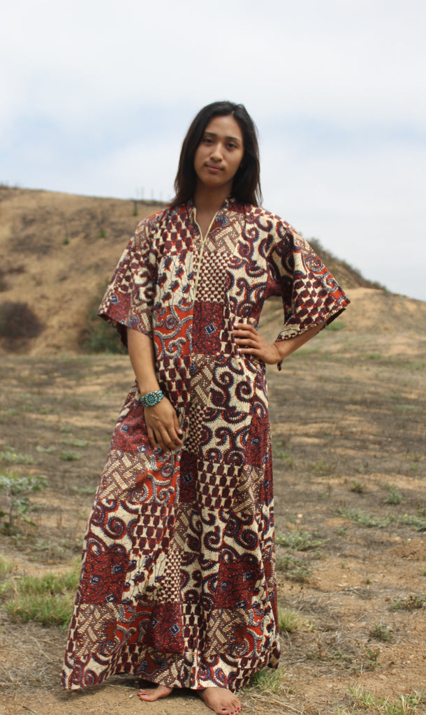 Bohemian Earthy Ethnic Maxi Dress Circa 1970s