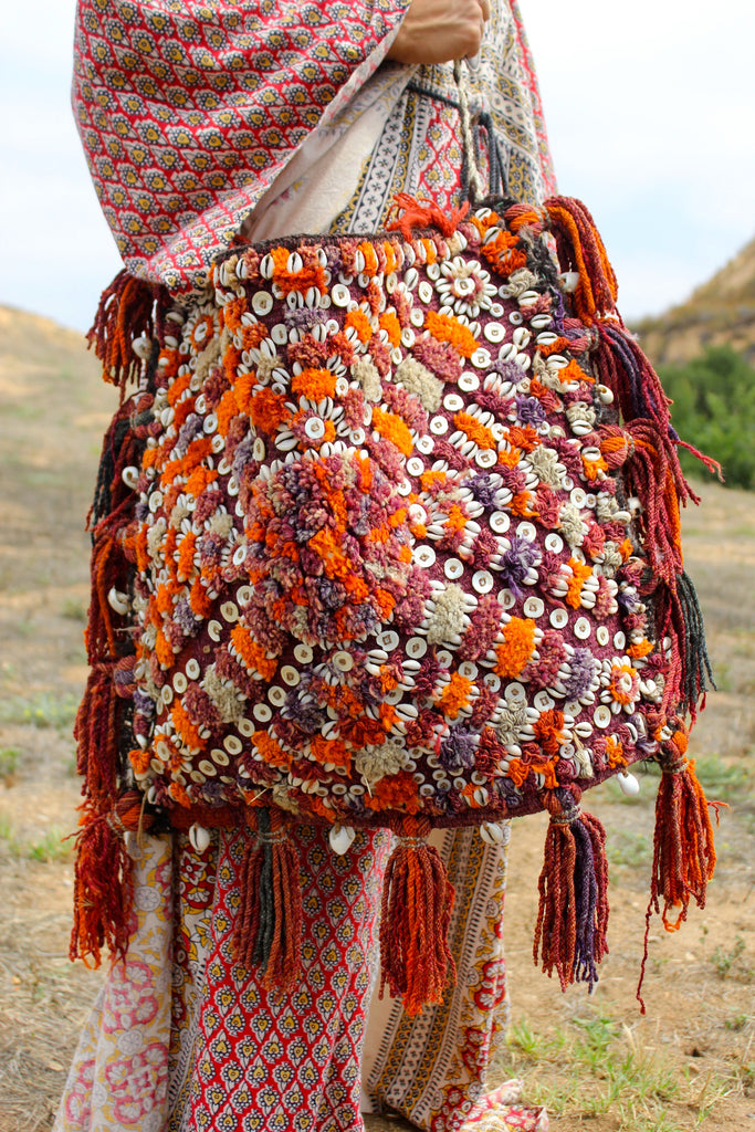 Stunning Cowry Shell Natural Dyed Middle Eastern Saddle Bag
