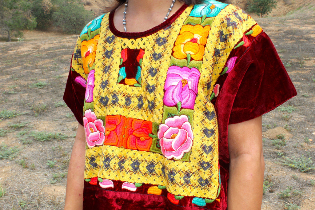 Antique Collector Worthy Velvet Hand Embroidered Huipil