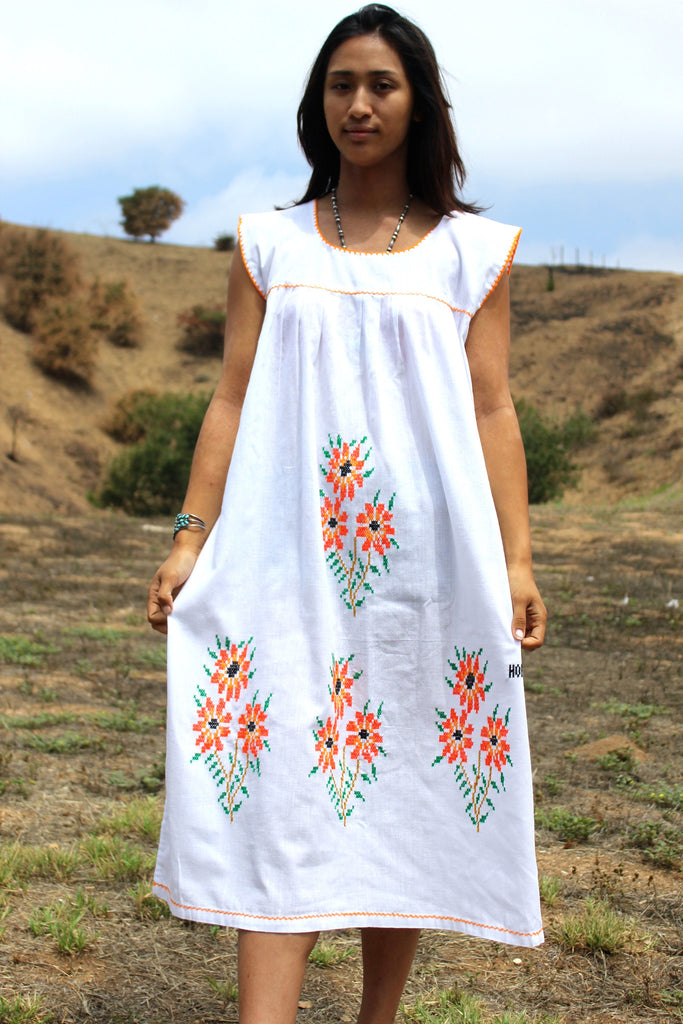 *SALE* Cross Stitched Ethnic Hand Embroidered Bohemian Maxi Dress