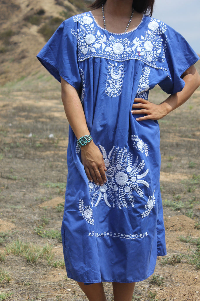 Denim Blue and white Mexican Hand Embroidered Dress