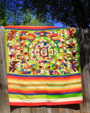 """Mayan Rainbow"" 1940s Handwoven Mexican Folk Art Blanket Highly Detailed"