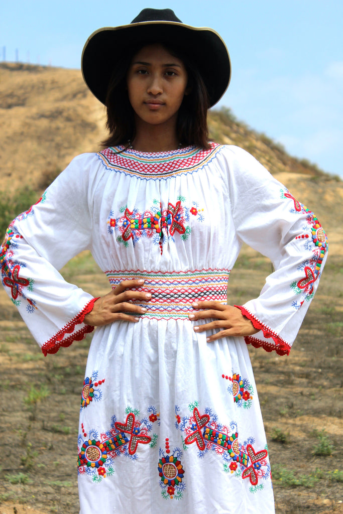 """The Flower Queen"" Hand Embroidered Vintage Eastern European Folk Dress"