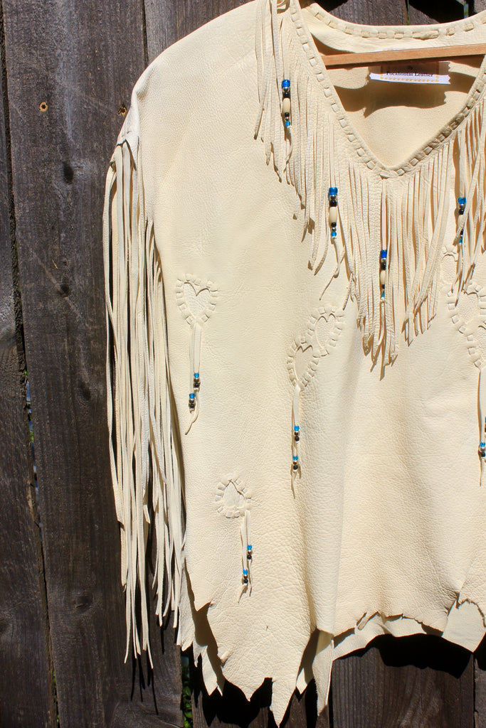 """Cheyenne Top"" Handmade Deerskin Native Blouse Fringe and Beads and Fringe"