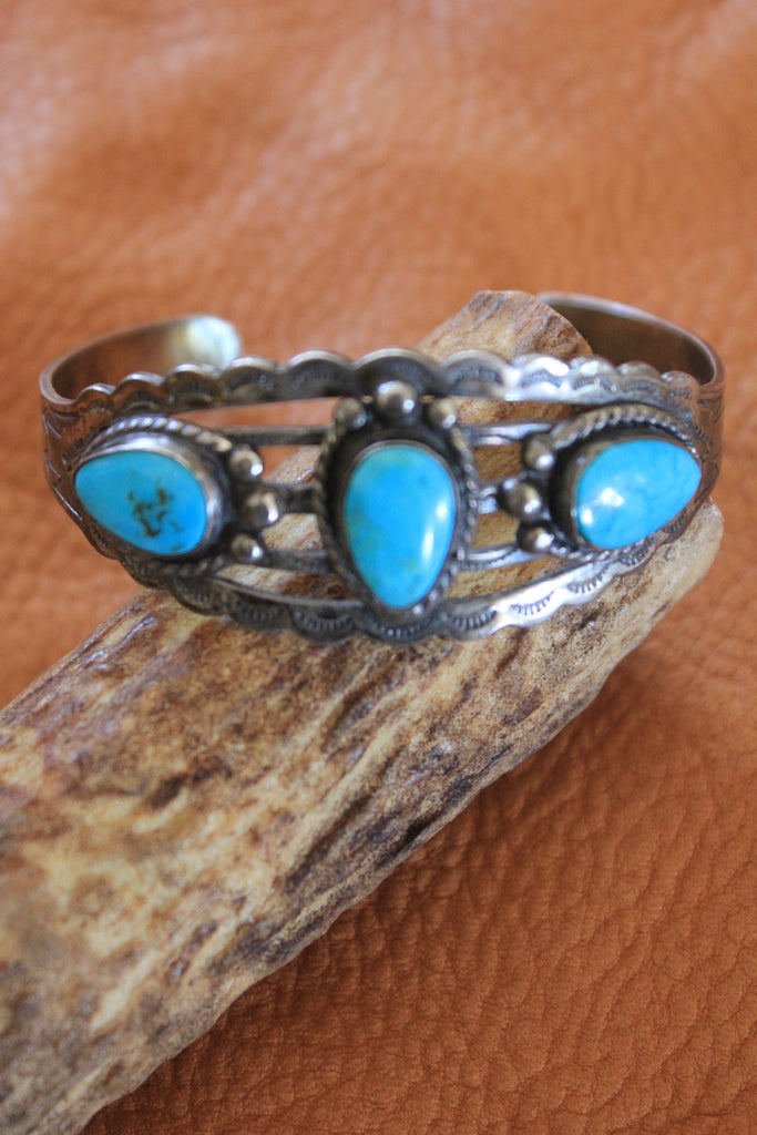 Tri-Stone Fred Harvey Era Stamped Native American Bracelet