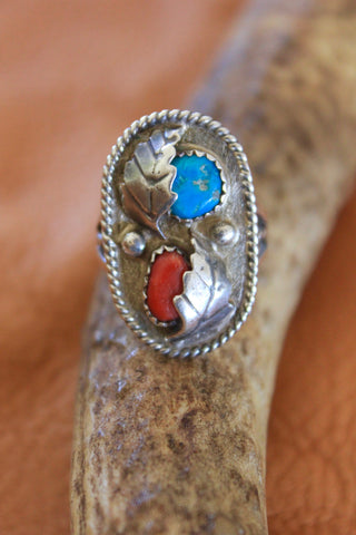 Hand Crafted Native American Turquoise and Coral Ring
