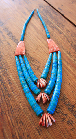 Old Pawn Santo Domingo Kingman Turquoise and Spiny Oyster Necklace From The Calamity Pass Collection