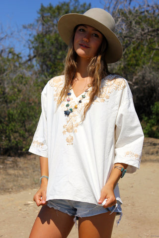 Natural Cotton Hand Embroidered Mexican Blouse