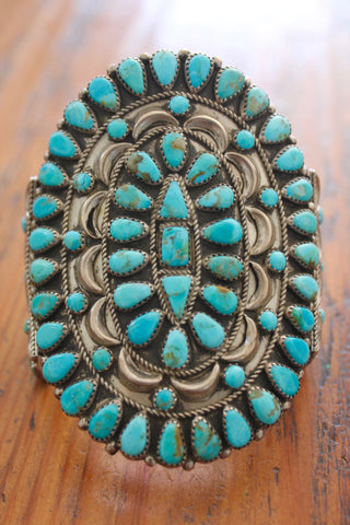 STUNNING Old Pawn Native American Turquoise Cluster Cuff