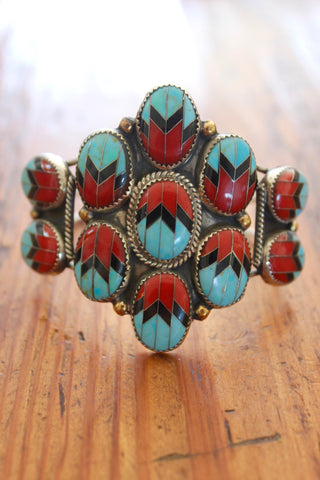 Navajo Inlay RARE and One of a Kind Coral and Turquoise Cuff from The Calamity Pass Collection