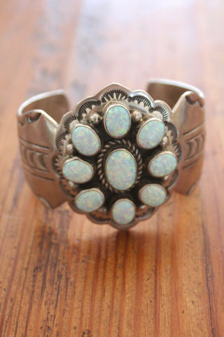 Navajo Silversmith Ray Bennett Handcrafted Sterling Bracelet with Lab Opals