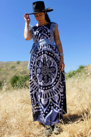 """Indigo Batik"" Honeywood Original One-of-A-Kind Pinafore Dress"