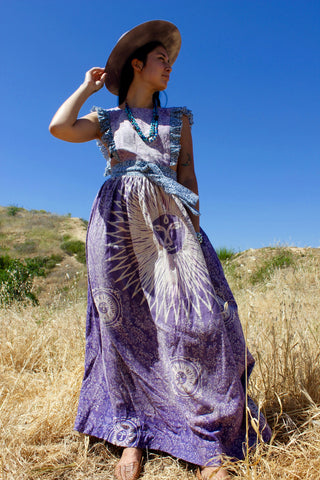"""Lilac Sun"" Honeywood Original Pinafore Dress Indian Cotton Block Print"