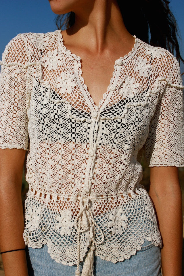 Romantic 1970s Crochet Cardigan