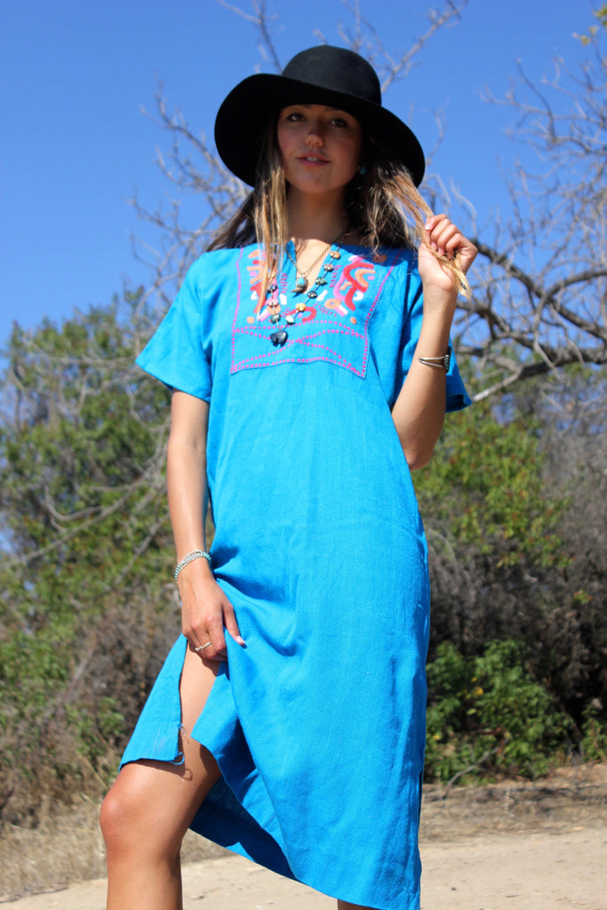 1970s Hand Embroidered Mexican Dress