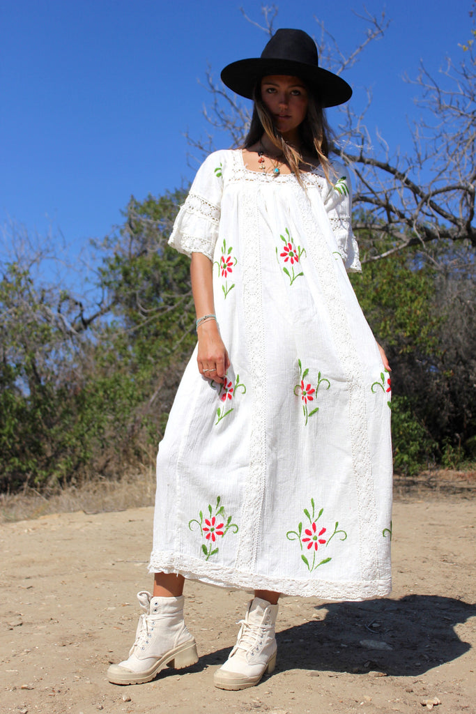 Vintage Gauzy Cotton and Crochet Maxi