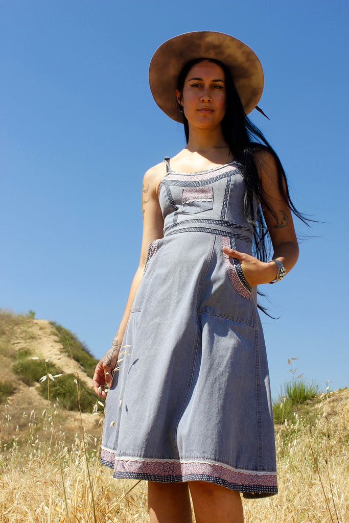 """Prairie Denim"" 1970s Gunne Sax Sundress"