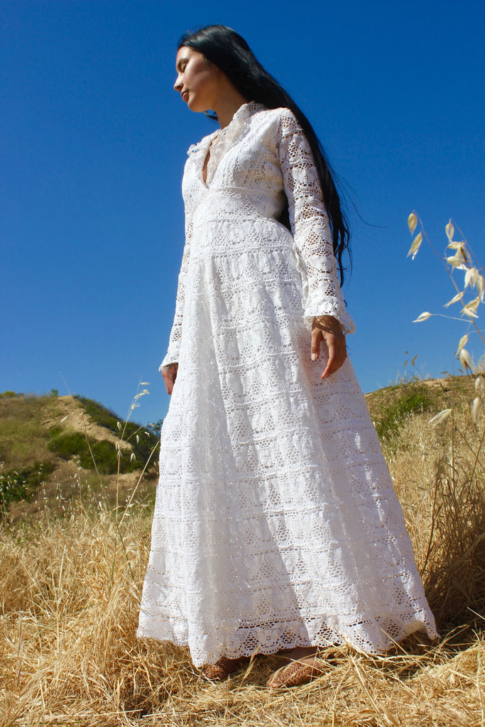 """Oaxacan Vows"" 1970s Vintage Crochet Mexican Wedding Dress"