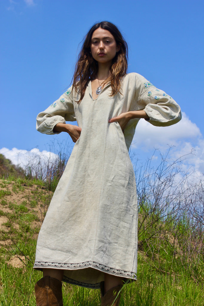 Early Century Eastern European Hemp Hand Embroidered Dress