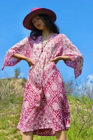 """Rosè"" Vintage 1970s Adini Style Indian Block Print Gauze Dress"